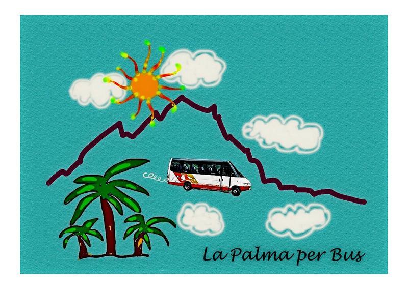 Grafik: La Palma dargestellt durch Palmen, Berge und Sonne. Plus Foto Bus/Guagua.