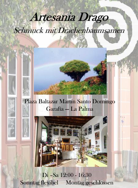 Flyer des Kunsthandwerk-Geschäftes Artesania Drago in Santo Domingo auf La Palma