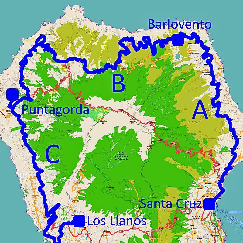 Karte: Streckenverlauf der Buslinie 100 auf La Palma