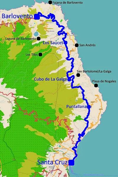 Karte: Streckenverlauf der Buslinie 100 A auf La Palma