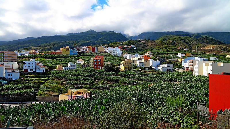 Foto: Bananenplantagen und der Ort Los Sauces auf La Palma