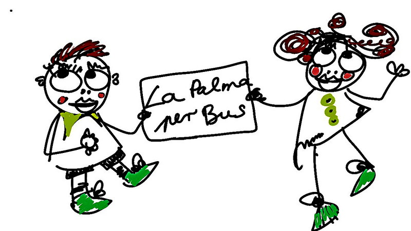 """Grafik: Zeichnung mit zwei Figuren und Schild mit Aufschrift """"La Palma per Bus"""""""