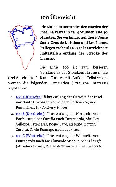 Info-Grafik: Buslinie100 La Palma