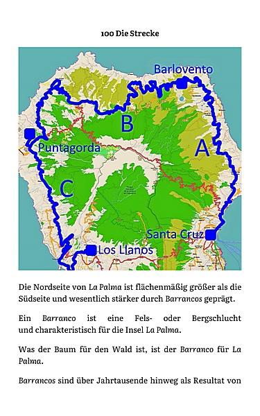 Karte mit Streckenverlauf der Buslinie 100 auf La Palma