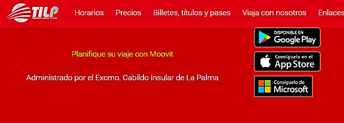 Bildschirmfoto von der Internetseite transporteslapalma.com auf der die App moovit beworben und verlinkt wird.