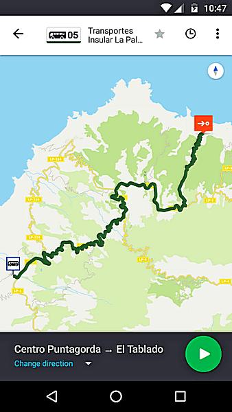 Bildschirmfoto der App moovit, Region La Palma, Linie 105 Puntagorda nach El Tablado