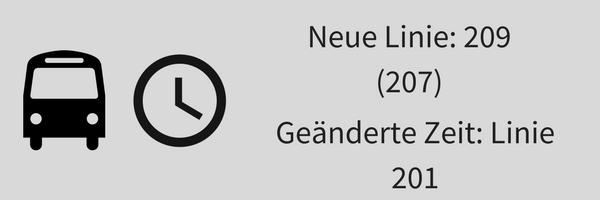 Infografik mit Text: neue Buslinie 209 und geänderte Abfahrtszeit für die Linie 201