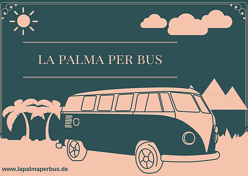 Grafik: Bus, Sonne, Wolken mit Text La Palma per Bus