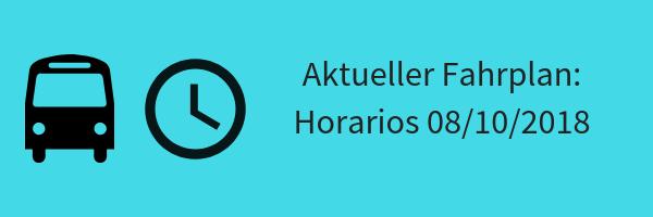 Banner mit Text Aktueller Fahrplan Horarios 8. Oktober 2018
