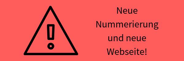 Banner mit Symbolen für Achtung und Text: Neue Nummering und neue Webseite