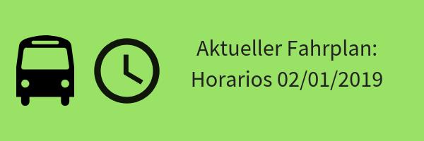 Banner mit Symbolen für Bus, Uhr und Text: Neuer Fahrplan Actualizado 02/01/2019