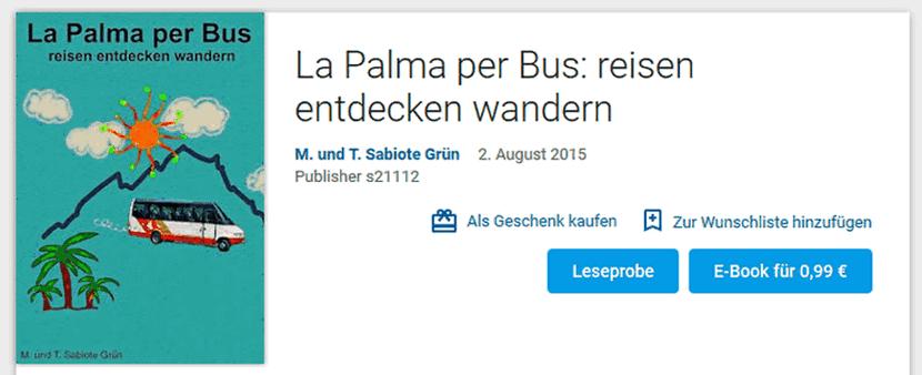 Bildschirmfoto von play.google.com mit dem Buch-Cover von La Palma per Bus
